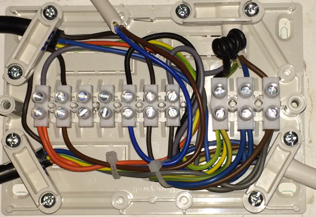 Rewired Boiler Junction Box